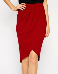 Red tulip wrap skirt